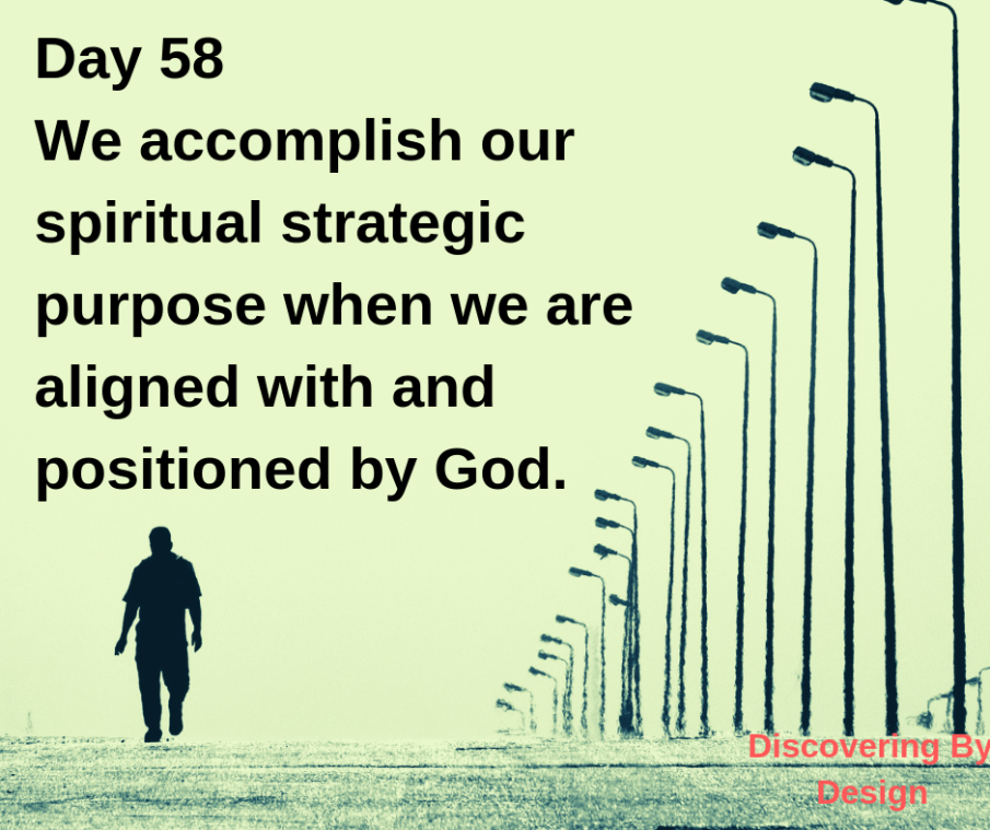 Day 58 We accomplish our spiritual strategic purpose when we are aligned with and positioned by God.